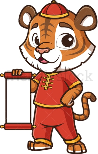 Chinese new year tiger with blank scroll. PNG - JPG and vector EPS (infinitely scalable).