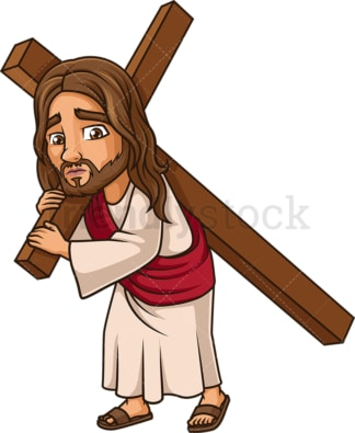 Jesus Christ carries the cross. PNG - JPG and vector EPS (infinitely scalable).