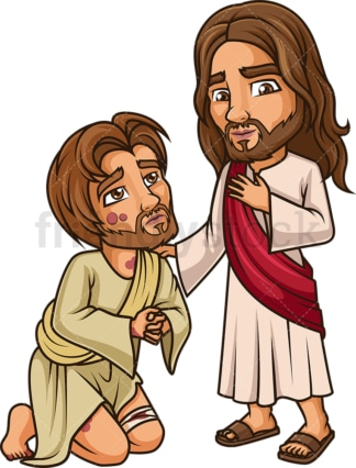Jesus Christ Cleansing The Leper. PNG - JPG and vector EPS (infinitely scalable).