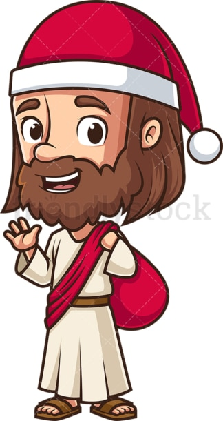 Jesus dressed as santa claus. PNG - JPG and vector EPS (infinitely scalable).