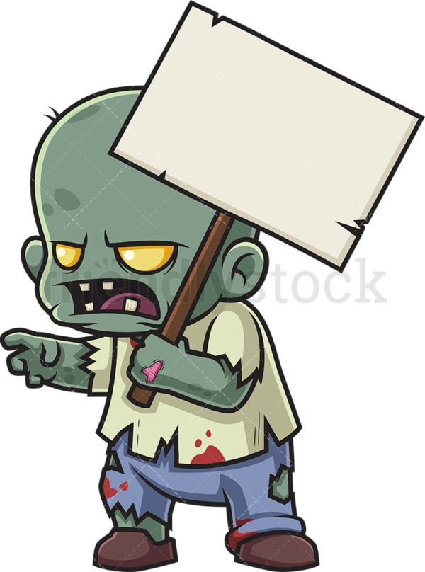 Little zombie protesting. PNG - JPG and vector EPS (infinitely scalable).