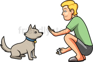 Man teaching his dog to sit. PNG - JPG and vector EPS file formats (infinitely scalable). Image isolated on transparent background.