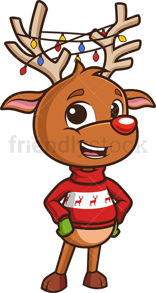 Reindeer with christmas lights in horns. PNG - JPG and vector EPS (infinitely scalable).