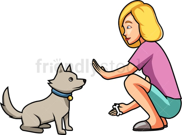 Woman teaching her dog to sit. PNG - JPG and vector EPS file formats (infinitely scalable). Image isolated on transparent background.