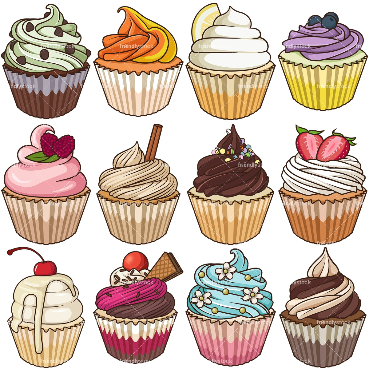 Delicious Cupcakes Cartoon Vector Clipart - FriendlyStock