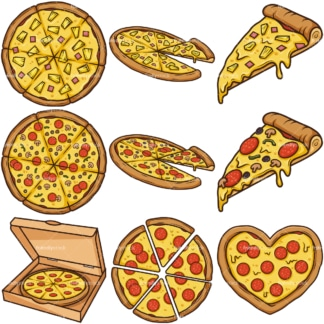 Pizza cartoon collection. PNG - JPG and infinitely scalable vector EPS - on white or transparent background.