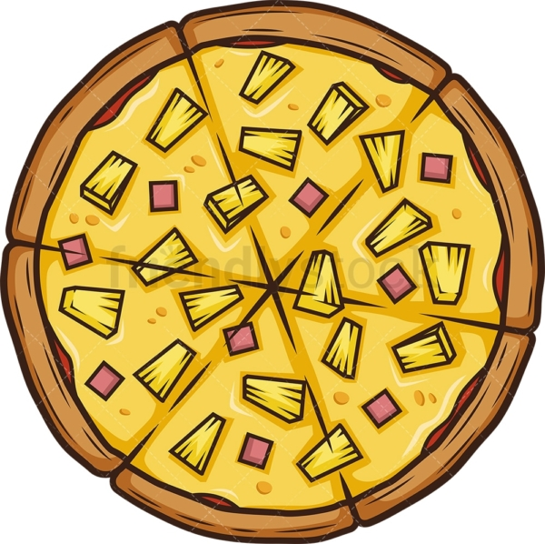 Pineapple pizza. PNG - JPG and vector EPS (infinitely scalable).
