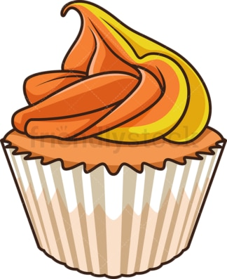 Orange cupcake. PNG - JPG and vector EPS file formats (infinitely scalable). Image isolated on transparent background.
