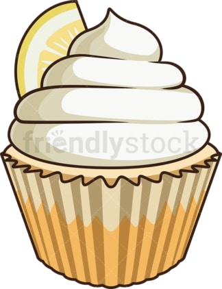 Lemon cupcake. PNG - JPG and vector EPS file formats (infinitely scalable). Image isolated on transparent background.