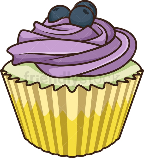 Blueberry cupcake. PNG - JPG and vector EPS file formats (infinitely scalable). Image isolated on transparent background.