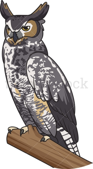 Great horned owl. PNG - JPG and vector EPS file formats (infinitely scalable). Image isolated on transparent background.
