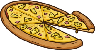 Pineapple pizza side view. PNG - JPG and vector EPS (infinitely scalable).