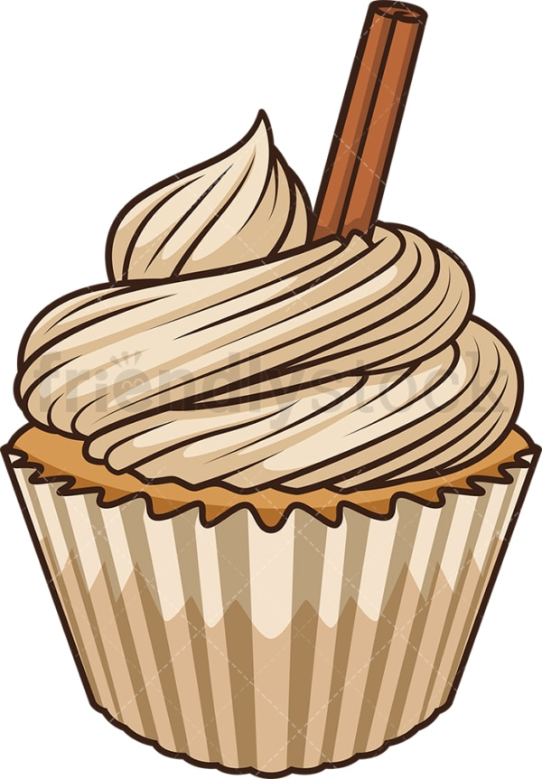 Apple cinnamon cupcake. PNG - JPG and vector EPS file formats (infinitely scalable). Image isolated on transparent background.