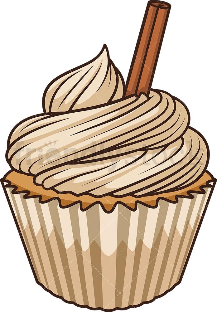 Apple Cinnamon Cupcake Cartoon Vector Clipart - FriendlyStock