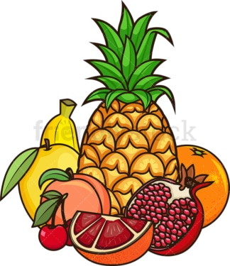 Group of various fruits. PNG - JPG and vector EPS file formats (infinitely scalable). Image isolated on transparent background.
