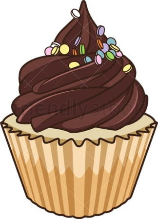 Chocolate cupcake. PNG - JPG and vector EPS file formats (infinitely scalable). Image isolated on transparent background.