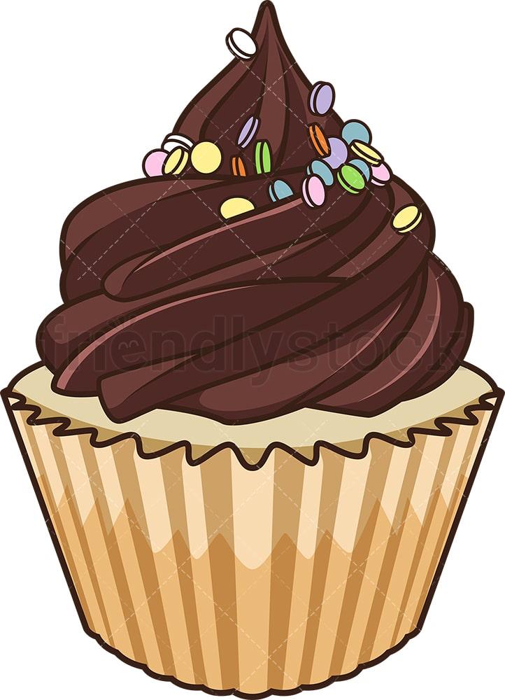 Chocolate Cupcake Cartoon Vector Clipart - FriendlyStock
