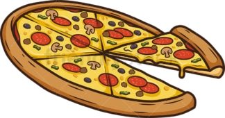 Special pizza side view. PNG - JPG and vector EPS (infinitely scalable).