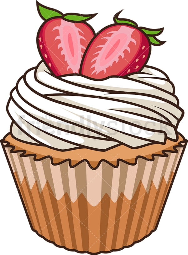 Vanilla cupcake with strawberries. PNG - JPG and vector EPS file formats (infinitely scalable). Image isolated on transparent background.
