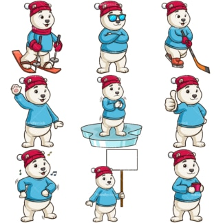 Polar bear mascot. PNG - JPG and infinitely scalable vector EPS - on white or transparent background.