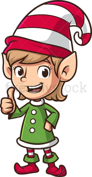 Female santa's elf thumbs up. PNG - JPG and vector EPS (infinitely scalable).