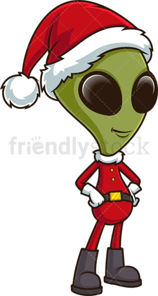 Green alien santa claus. PNG - JPG and vector EPS (infinitely scalable).