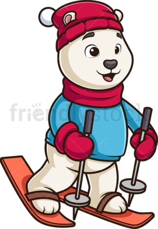 Polar bear skiing. PNG - JPG and vector EPS (infinitely scalable).