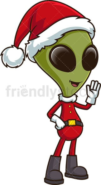 Alien santa waving. PNG - JPG and vector EPS (infinitely scalable).