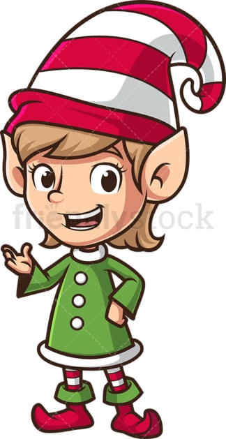 Female santa's elf talking. PNG - JPG and vector EPS (infinitely scalable).