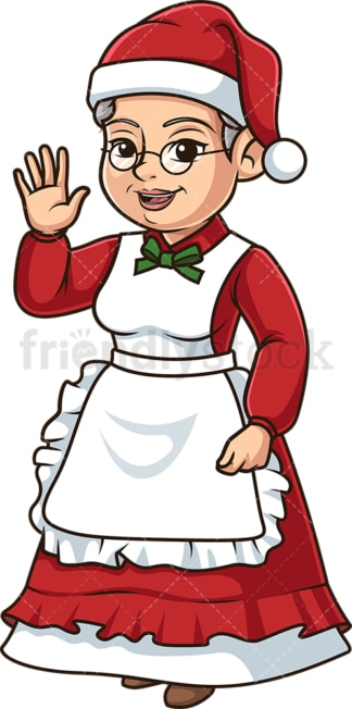 Mrs santa claus waving. PNG - JPG and vector EPS (infinitely scalable).