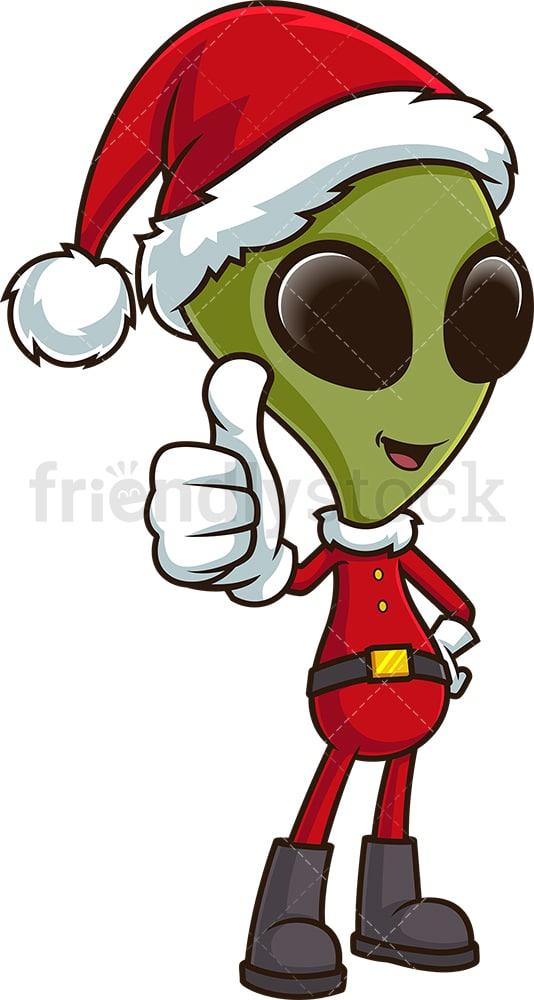 Christmas alien thumbs up. PNG - JPG and vector EPS (infinitely scalable).