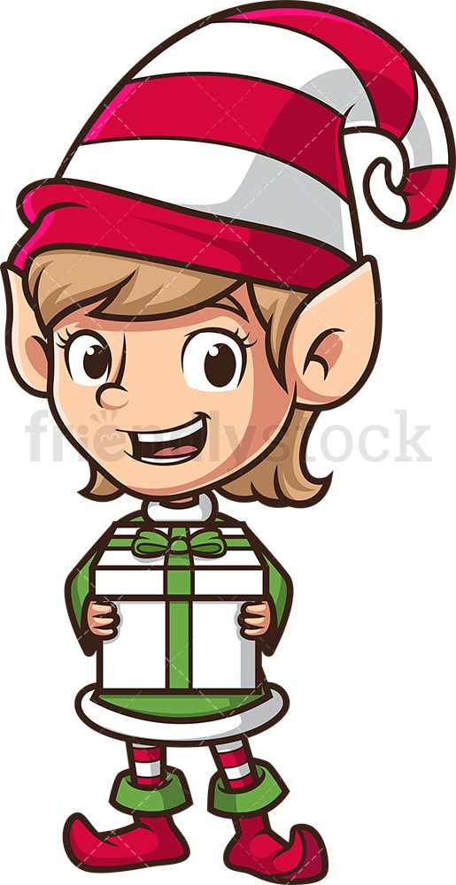 Female christmas elf holding present. PNG - JPG and vector EPS (infinitely scalable).