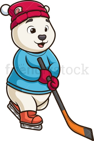 Polar bear playing ice hockey. PNG - JPG and vector EPS (infinitely scalable).