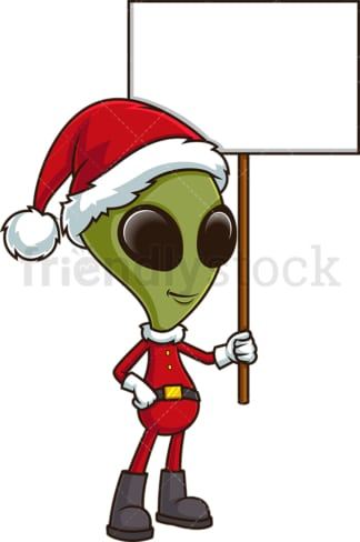 Alien santa holding blank sign. PNG - JPG and vector EPS (infinitely scalable).