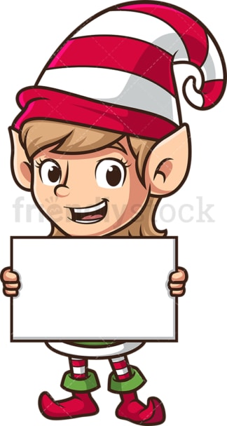 Female santa's elf holding blank sign. PNG - JPG and vector EPS (infinitely scalable).