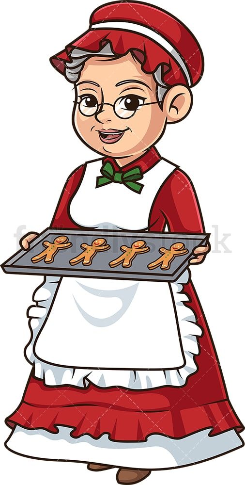 Mrs santa claus with christmas cookies. PNG - JPG and vector EPS (infinitely scalable).