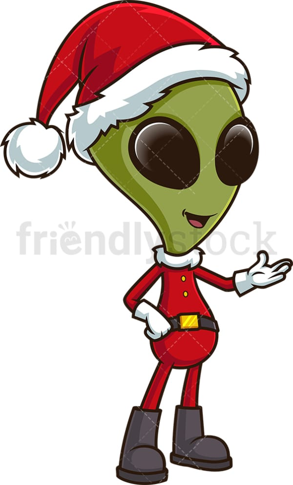Christmas alien presenting. PNG - JPG and vector EPS (infinitely scalable).