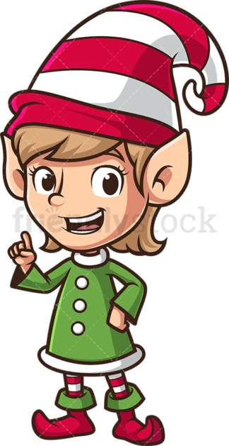 Female santa's elf pointing up. PNG - JPG and vector EPS (infinitely scalable).