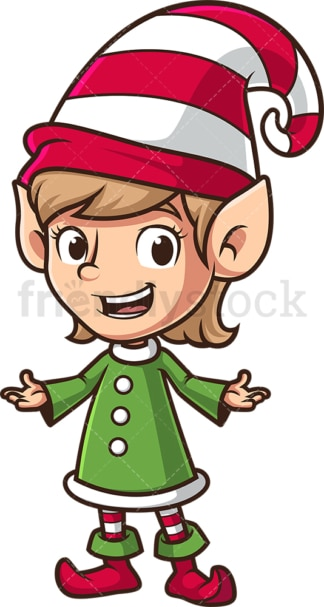 Happy female christmas elf. PNG - JPG and vector EPS (infinitely scalable).