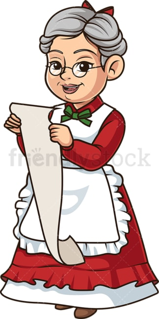Mrs santa claus with gift list. PNG - JPG and vector EPS (infinitely scalable).