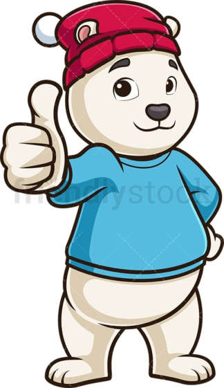 Polar bear thumbs up. PNG - JPG and vector EPS (infinitely scalable).
