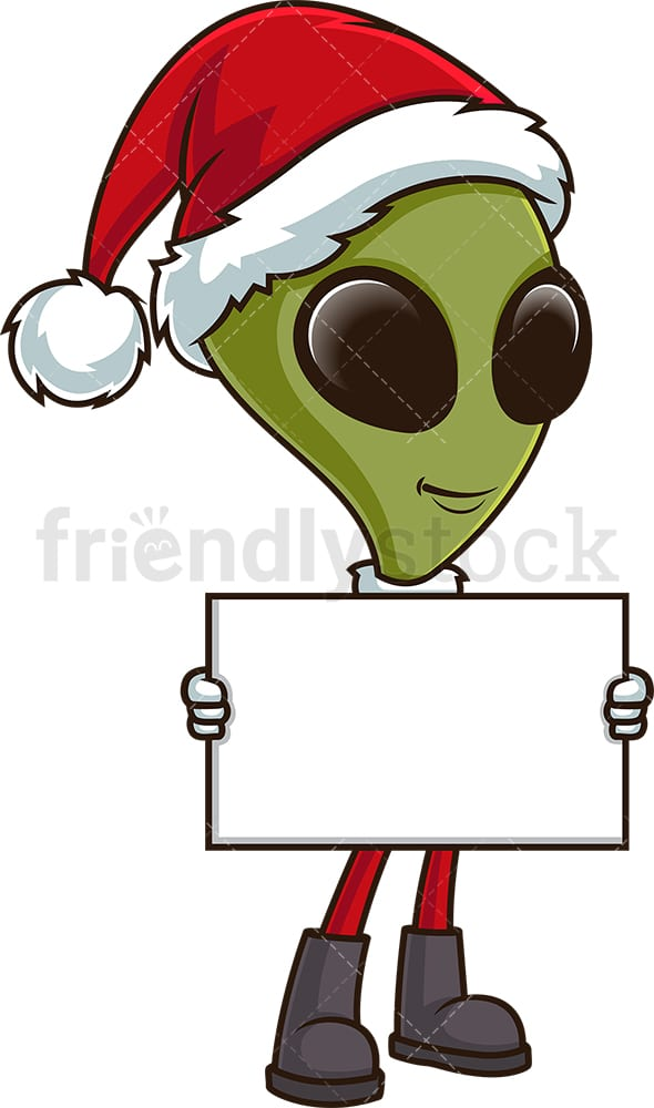 Christmas alien holding empty sign. PNG - JPG and vector EPS (infinitely scalable).