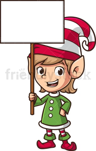 Female christmas elf holding sign. PNG - JPG and vector EPS (infinitely scalable).