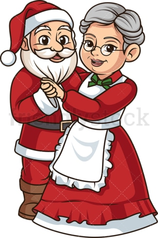 Mrs claus dancing with santa. PNG - JPG and vector EPS (infinitely scalable).