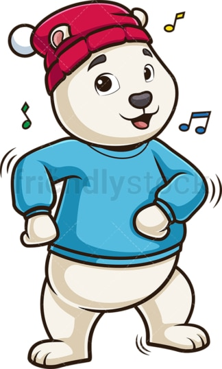 Polar bear dancing to music. PNG - JPG and vector EPS (infinitely scalable).