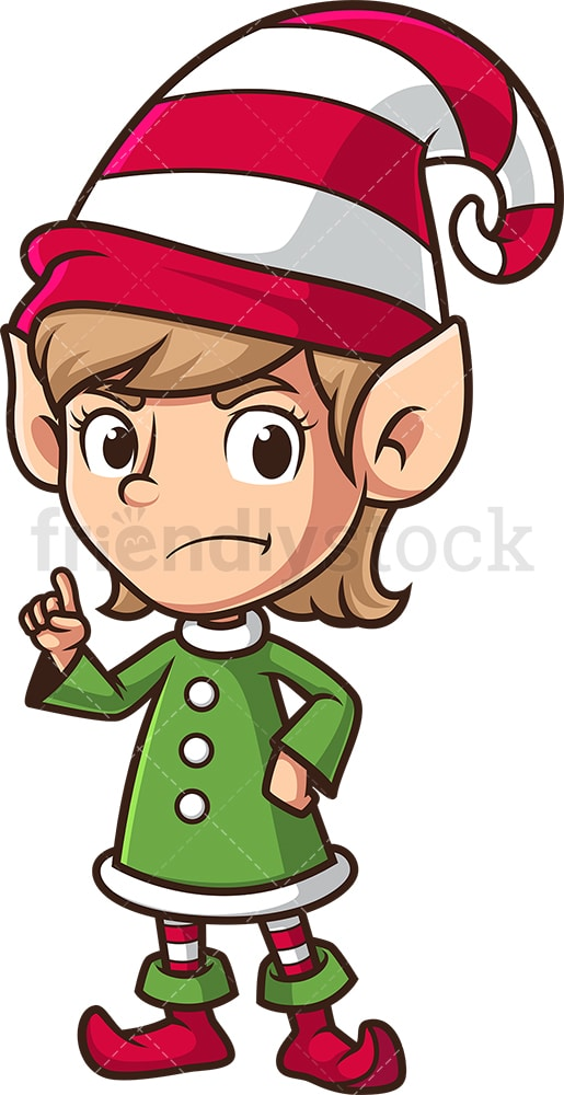 Angry female christmas elf. PNG - JPG and vector EPS (infinitely scalable).