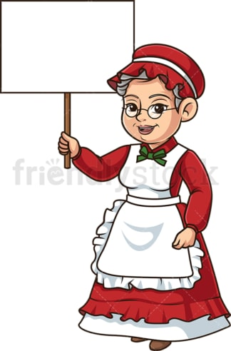 Mrs santa claus holding blank sign. PNG - JPG and vector EPS (infinitely scalable).