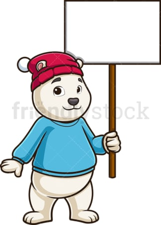 Polar bear holding blank sign. PNG - JPG and vector EPS (infinitely scalable).