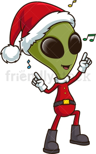 Alien santa dancing. PNG - JPG and vector EPS (infinitely scalable).