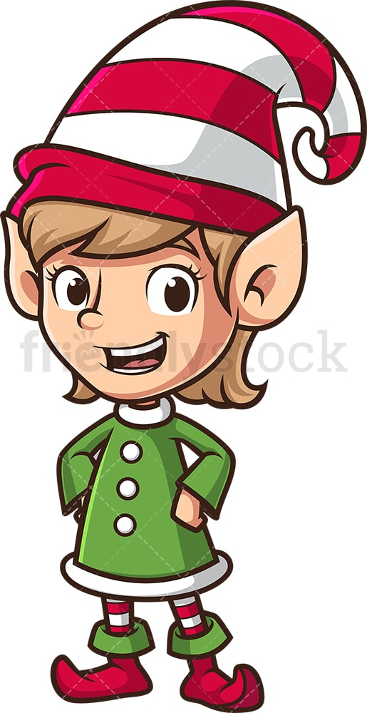 Cheerful female christmas elf. PNG - JPG and vector EPS (infinitely scalable).